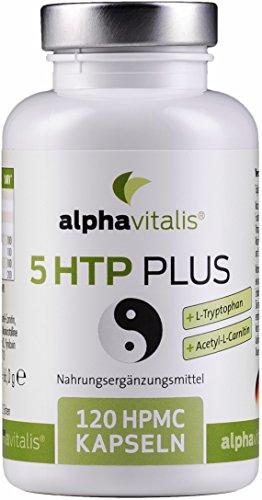 5 HTP PLUS - 200mg 5-Hydroxytryptophan + L-Tryptophan + Acetyl-L-Carnitin + Vitamin B Komplex - ohne Magnesiumstearat - vegan- 120 Kapseln EINWEG