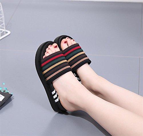 pengweiPantofole Lady Summer Pino torta fondo spessa Una parola trascina i pantofole antisdrucciolevoli dell'alto tallone di modo 2
