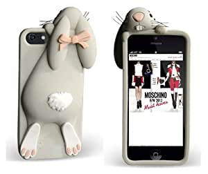 Gray Soft Rabbit Bunny Silicone Back Cover Case for Iphone 4 4S 4G
