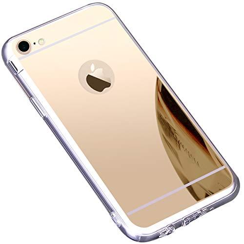 kompatibel mit iPhone 7 Hülle,iPhone 8 Hülle,Schutzhülle für iPhone 8 7 Silikon Handyhülle Spiegel Hülle Bling Strass TPU Handyhülle Weiche TPU Silikon Bumper Mirror Case für iPhone 8/7,Gold -