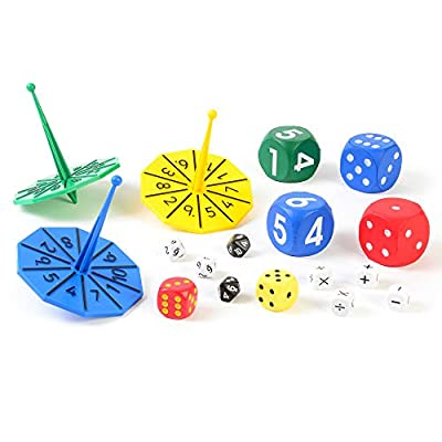 Early Excellence Set of Dice and Spinners, fun and educational tools, suitable for Nurseries, Schools or Home, eex-maths