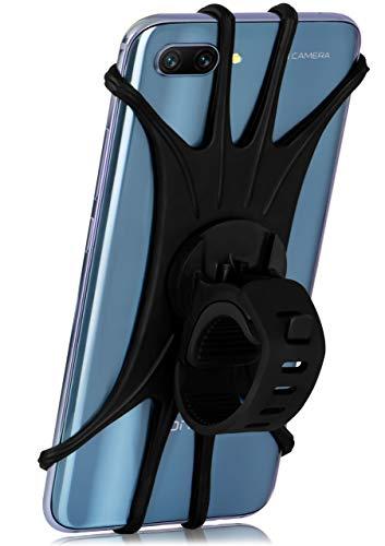 MoEx® Extrem leichte & Flexible Fahrrad Handyhalterung für alle Sony Xperia | Zur Befestigung am Lenker, Oberrohr oder Vorbau - 360 Grad drehbar, Schwarz