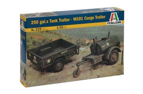 Italeri 0229 - tank 250gals and cargo m101 trailers model kit  scala 1:35
