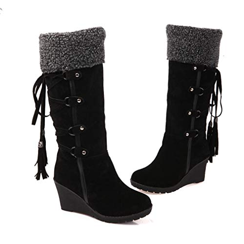 Schwarz Schnee Stiefel (Keilstiefel für Damen Frauen Bequeme Hohe Schnee Stiefe mit Quasten Mode Herbst Winter Casual Schuhe Streetwear Stiefel Boots Beige/Gelb/Schwarz 34-43)