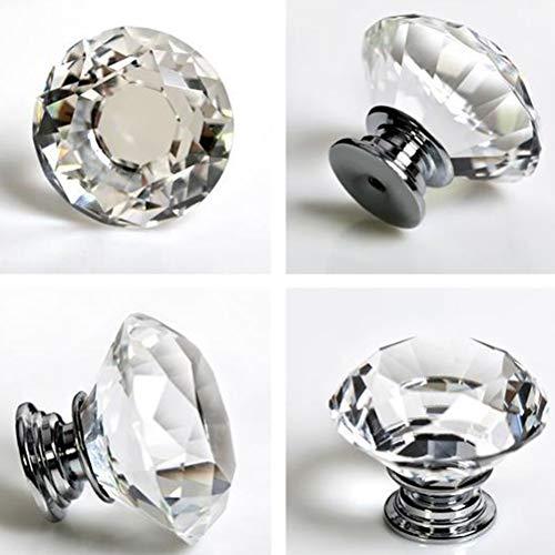 4166nfdwZwL - nuosen - 4 pomos de Cristal, 40 mm, cajón de Diamante, Tirador de Puerta de Armario, Tiradores de Cristal con Tornillos para el hogar, Cocina, Oficina, cajón de Pecho, aparador