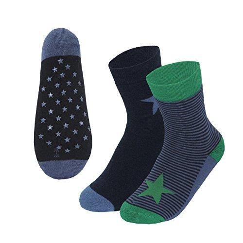Esda Kindersocken 2-er Pack Thermosocken Vollplüsch ABS Sterne/Ringel Marine/Blau 3 Gr. 23/26 bis 31/34 Jungen Mädchen Winter Socken (Socke Sterne-zehe)