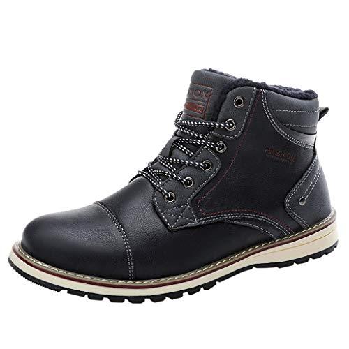 LILIGOD Herren Britischen Stil Schneeschuhe Plus Samt Warme Kurze Stiefel Baumwollschuhe Mode Im Freien Winterstiefel Flache Leder Schnürstiefel Freizeitschuhe Business Schuhe -