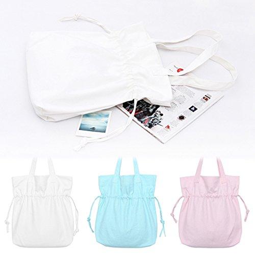Miaomiaogo Sacchetto di spalla semplice di colore solido di estate Sacchetto fresco e bello della spalla della tela di canapa bianca