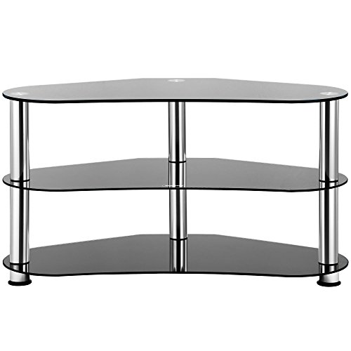 Vonhaus Black Glass Tv Stand Tempered Glass Corner Unit