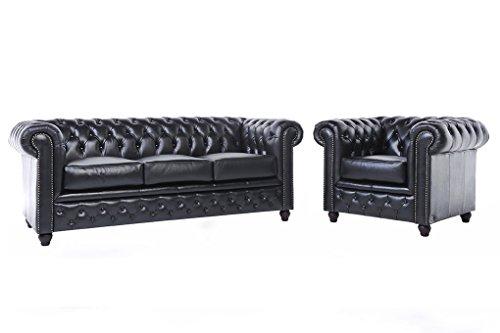 Original Chesterfield Sofa und Sessel – 1 / 3 Sitzer – Vollständig Handgewaschenes Leder – Schwarz