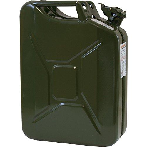 20 Liter Benzinkanister Metall GGVS mit Sicherungsstift oliv Armee Stahlblech