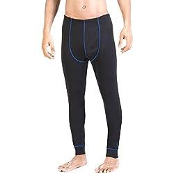 XAED - Pantalón térmico largo para hombre (grande, negro/azul)