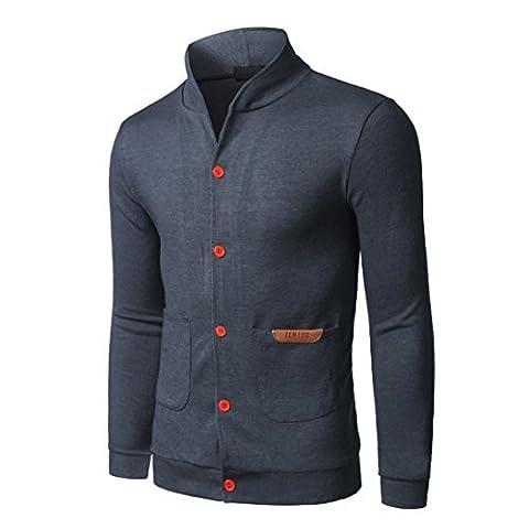 Goodsatar Hommes Coton Bouton manches longues à capuche Sweat à capuche Veste Gilets (M/48, Gris)