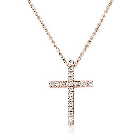 18ct Rose Gold 0.25ct Diamond Cross Pendant Necklace