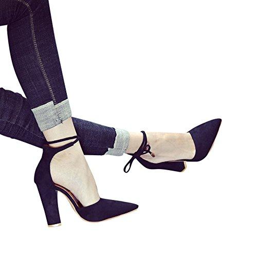 JURTEE Sandalen Damen Schwarz Einfarbig Spitze Schuhe Dicke Ferse Wildleder Stöckelschuhe Sandalen