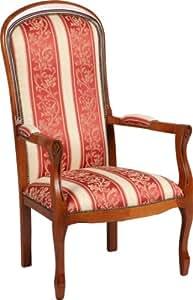 Fauteuil Voltaire hêtre massif tissu rouge à rayures