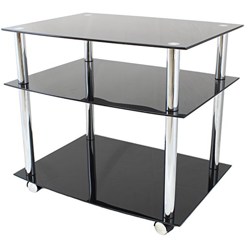 Hartleys Black Glass Tv DVD Unit With Wheels - Mobile 3 Tier Trolley