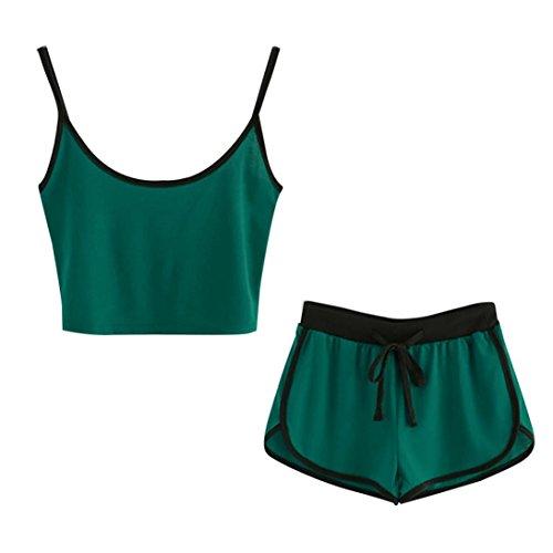 OYSOHE Damen Sport Anzug, Frauen O-Ausschnitt Ärmellos Patchwork Crop Cami Tops Bluse + Cord Shorts Outfit Set -