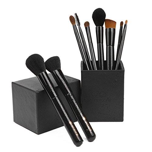 amoore 9 pcs Cepillo de Base Juego de Cepillo de Maquillaje con Pinceles Brochas de Maquillaje para Base Colorete Sombra de Ojos Cejas Pestaña y Labios (9 Pcs, Negro)