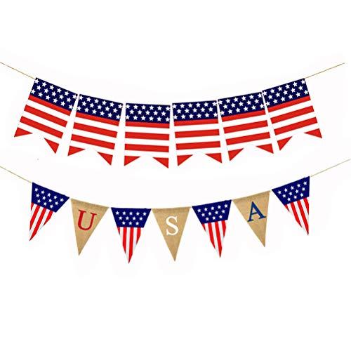 Amosfun 2 Stücke USA Garland Unabhängigkeitstag Party Dekoration Papier Amerikanische Flagge Banner Burgee (1x6 Stücke Ameraca Flagge + 1xUSA Leinen Wimpel)