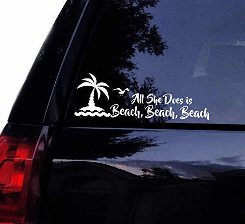 Celycasy Strandpalmen-Aufkleber - All She Does Is Beach Beach Beach with Seagull Bird Palm Tree - Vinyl-Auto-Aufkleber, Laptop, Autofenster (Fenster Palm Aufkleber Auto Tree)