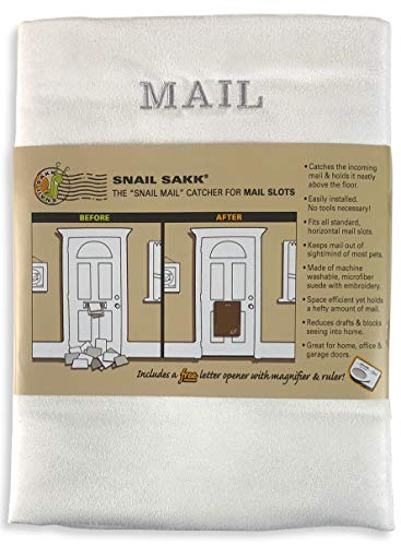 Caracol SAKK: Mail Catcher para ranuras de correo - blanco w/gris. No Más correo en el suelo. Plus muchos otros beneficios.
