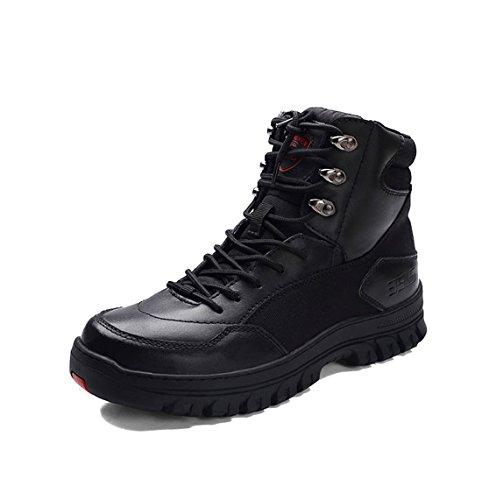 Herren Comfort Leder Schuhe Military High Rise Wandern Stiefel Schwarz