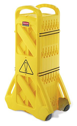 rubbermaid-commercial-mobile-barricade-system-portable-mobile-barrier-indoor-use-16-panels-4m-yellow