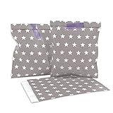 Frau WUNDERVoll 25 Stück Papiertüten, Candy Bags, Taupe, weiße Sterne 13 x 16,5 cm, 45 Gramm Papier