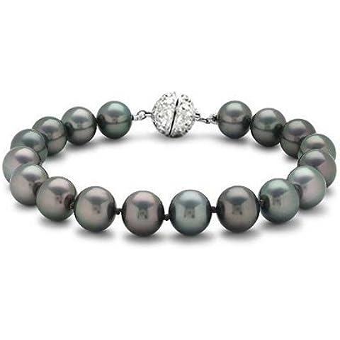 Bling Jewelry 10 millimetri nuziale South Sea Shell pavone Black Pearl (10 Millimetri Sintetico Perle)