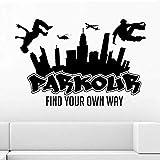 City Parkour Junior Vinilo Tallado Decorativo Etiqueta de La Pared Dormitorio Sala de estar Sofá Fondo Art Deco Sticker, Negro 56x84cm
