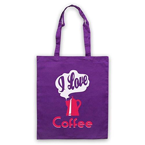 I Love Coffee Slogan Umhangetaschen Violett