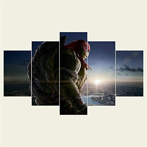 SHANYUR Bilder Vlies Leinwandbild Kunstdruck modern Wandbilder Wanddekoration Design Wand Bild 5 Teilig Teenage Mutant Ninja Turtle 80/60/40x30(cm) with Frames - Hintergrund Ninja Turtle