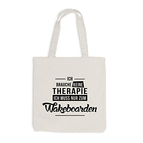 Jutebeutel - Ich Brauche Keine Therapie Wakeboarden Beige