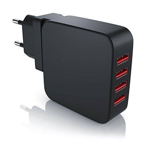 CSL - USB Netzteil 4-Port / Ladegerät mit 4000mA (bis zu 2,4A pro Port / Schnellladeadapter)| 4-Port USB Ladeadapter / USB Charger | 5V DC USB Ladeadapter | effektiver Schutz vor Kurzschlüssen und Überlast | geeignet für Handys, Smartphones, Tablets uvm.