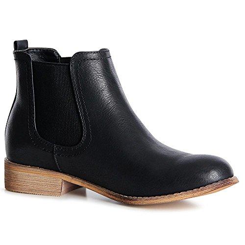 topschuhe24 1327 Damen Stiefeletten Chelsea Boots Booties Schwarz