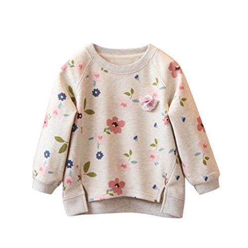 hirt Bluse,BeautyTop Kleinkind Kinder Baby Mädchen Blumendruck Langarm Warme Pullover Sweatshirt T-Shirt Blusen Tops (Grau, 4T) (4t Halloween Kostüme Jungen)