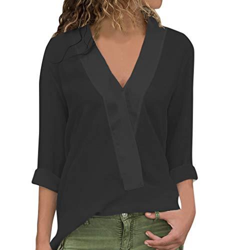 SANFASHION Chemis Femmes, Col V Button Haut Manches Longues Impression De Lettre Tops Plus Size Pull Basique (M, Noir Chic)