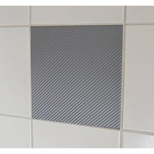 10 Stück Carbon Look grau Fliesenaufkleber 20x25cm