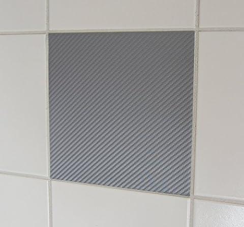 50 pièce look carbone gris stickers carrelage 20x25cm