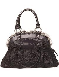 Banned Damen Gothic Handtasche Samt und Schleifen - Velvet Bow Henkeltasche