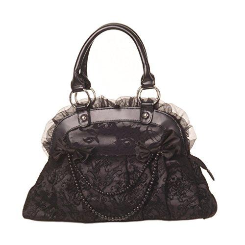 Black Velvet Bow (Banned Damen Gothic Handtasche Samt und Schleifen - Velvet Bow Reinvention Henkeltasche Schwarz)