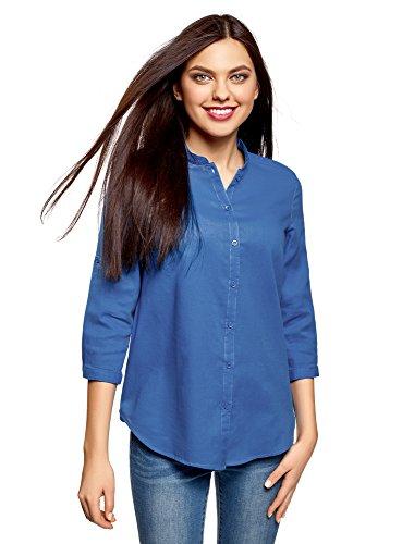 Oodji collection donna camicia in cotone con collo alla coreana, blu, it 48 / eu 44 / xl