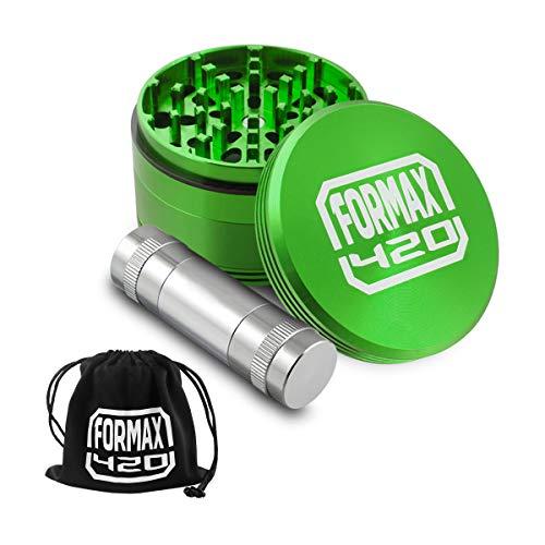 FORMAX®420 62 mm Grüne Kräutermühle 4-teilige Tabakmühlen mit einer grauen Pollenpresse. (Spice Grinder Mit Pollen Presse)