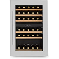 Klarstein Vinsider 35D • cave à vin • Réfrigérateur à boissons • 128 litres • 41 bouteilles • 6 étagères en bois • 2 zones • Porte en acier inox • Écran LCD • Éclairage intérieur LED • Noir-argent