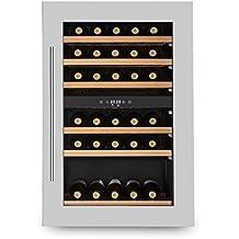Klarstein Vinsider 35D Nevera para vino 128 Litros (Vinoteca capacidad 41 botellas de vino, 2 zonas temperatura independiente programable, puerta cristal doble aislamiento, control táctil, pantalla LED)