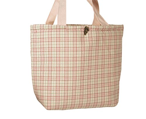 Qearly Niedlich Plaid Cotton Picknicktaschen Handtaschen Lunch Bag-Light Pink Plaid