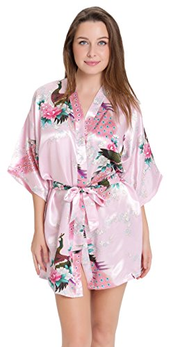 Aibrou Kimono Robe de Chambre Chemise de Nuit Femme Fleurs Paon sous vêtements Rose
