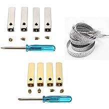 MAXGOODS Set de 8 Piezas Metal Aglets de Cordones Herrete Color Plata y Oro Consejos DIY con 1 Par de Agujetas Tornillos Destornilladores