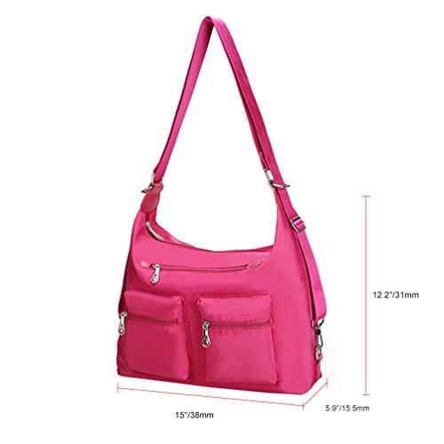 Vbiger Beiläufig Umhängetasche Wasserdichte Schultertasche Große Kapazität Handtasche für Frauen Rosy